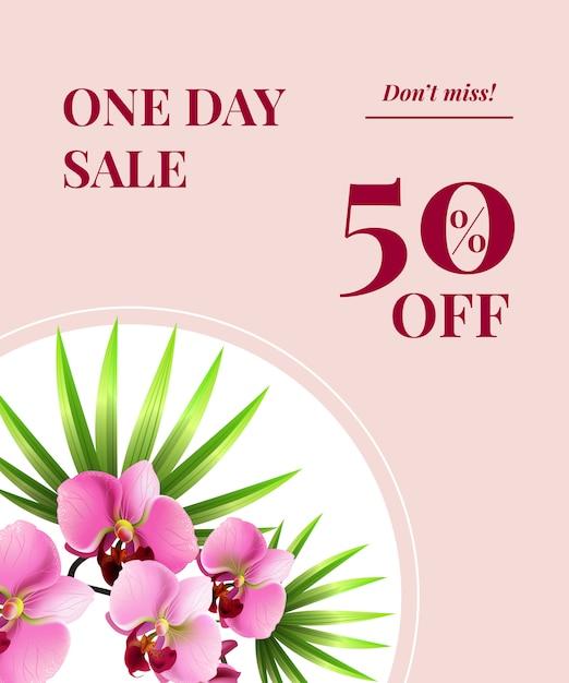 Une journée de vente, cinquante pour cent de réduction, ne manquez pas l'affiche avec des fleurs roses sur un cercle blanc. Vecteur gratuit