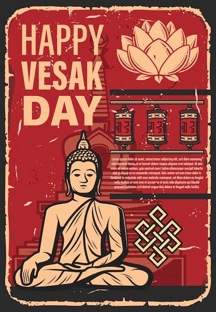 Journée Vesak Ou Bouddha. Fête De La Religion Bouddhiste Vecteur Premium