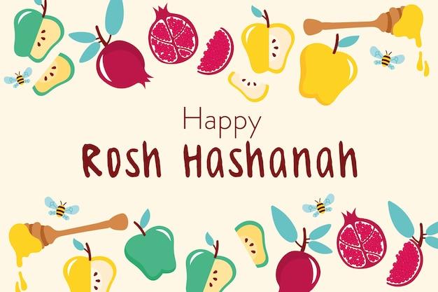 Joyeuse Célébration De Rosh Hashanah Avec Cadre De Fruits Vecteur Premium