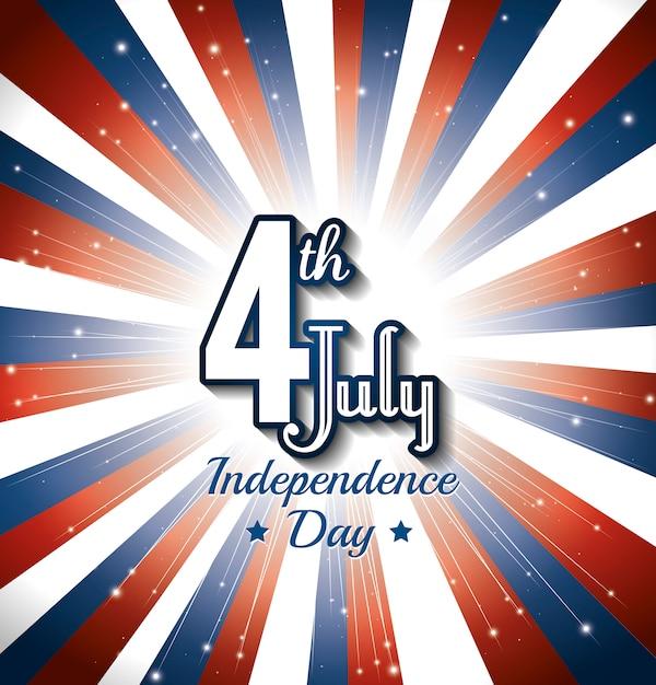 Joyeuse fête de l'indépendance, célébration du 4 juillet aux états-unis d'amérique Vecteur gratuit