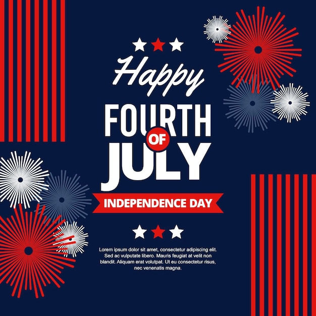Joyeuse Fête De L'indépendance Avec Feux D'artifice Vecteur gratuit