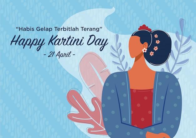 Joyeuse Fête De Kartini Vecteur Premium