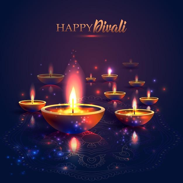 Joyeuse fête des lumières de diwali Vecteur Premium