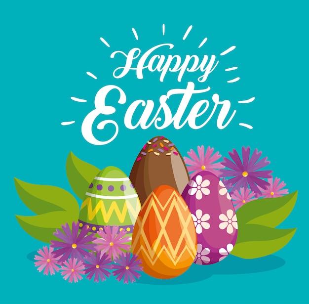 Joyeuse fête de pâques avec décoration d'oeufs Vecteur gratuit