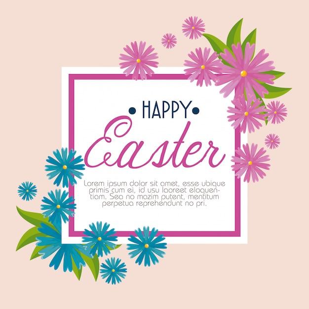 Joyeuse fête de pâques avec des fleurs et des feuilles Vecteur gratuit