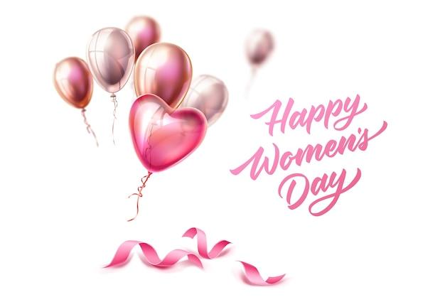 Joyeuse Journée De La Femme Lettrage Sur Des Rubans De Soie élégants Avec Des Ballons Coeur Pour La Journée Internationale Des Femmes, Le 8 Mars. Carte De Voeux De Vacances, Décoration De Bannière D'invitation Vecteur Premium