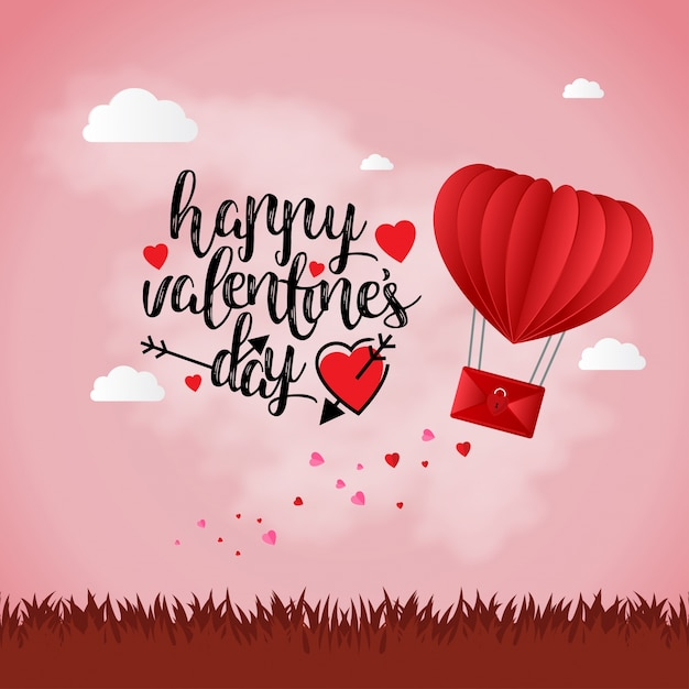 Joyeuse Saint-Valentin avec fond clair Vecteur gratuit