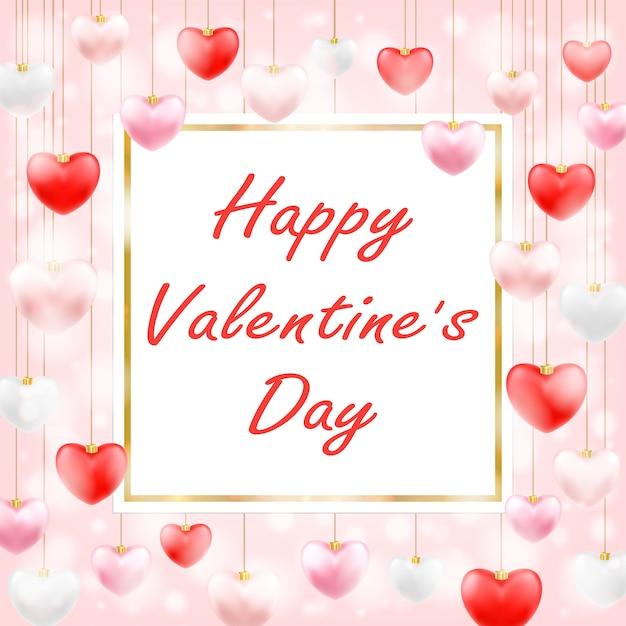 Joyeuse saint-valentin avec un coeur d'amour suspendu Vecteur Premium
