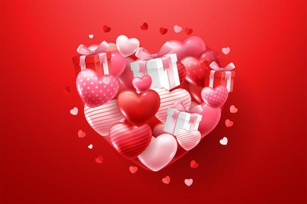 Joyeuse Saint-valentin Avec Des Coeurs 3d Vecteur Premium