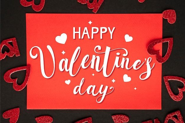 Joyeuse Saint Valentin Avec Des Coeurs Vecteur gratuit