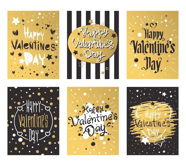 Joyeuse saint valentin et conception de cartes de désherbage Vecteur Premium