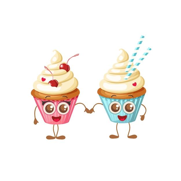Joyeuse saint valentin. cupcakes sucrés avec des yeux isolés sur blanc. Vecteur Premium
