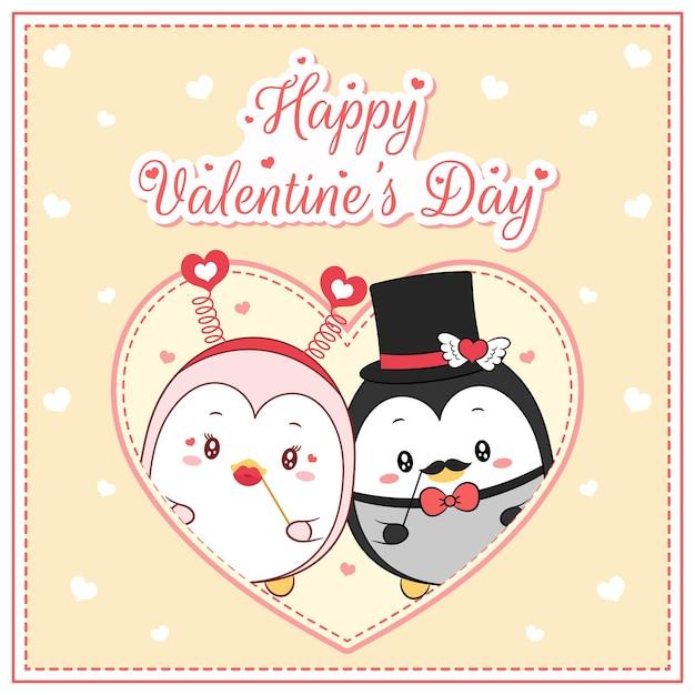 Joyeuse Saint Valentin Mignons Pingouins Dessin Carte Postale Grand Coeur Vecteur Premium