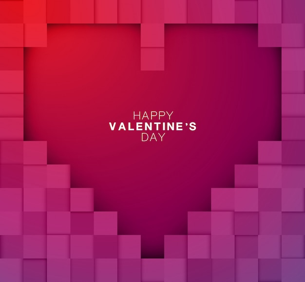 Joyeuse Saint Valentin Pixel Design Art Grand Coeur Et