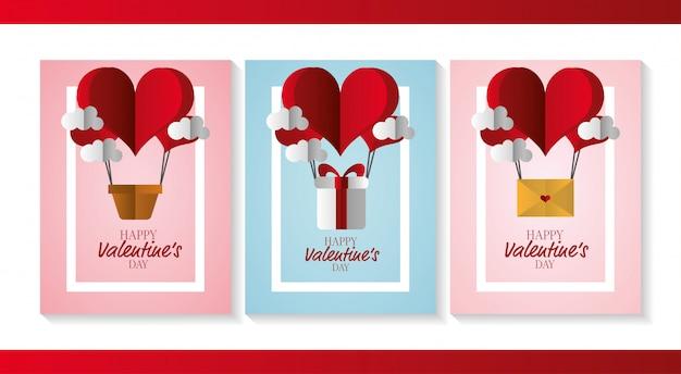 Joyeuses cartes de saint valentin Vecteur gratuit