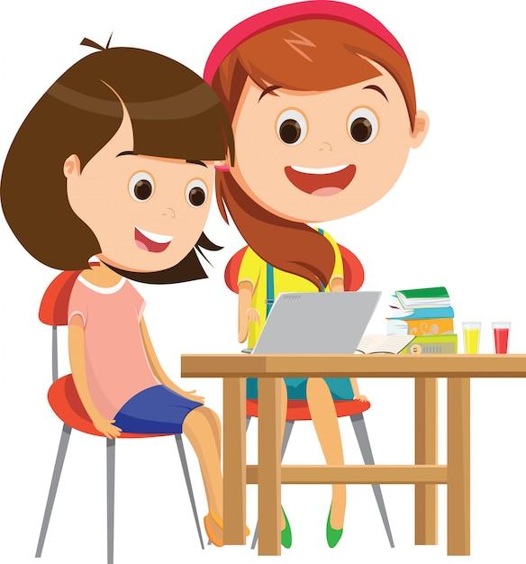Joyeuses écolières étudient ensemble au bureau Vecteur Premium