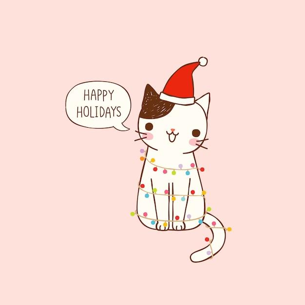 Joyeuses fêtes avec chat mignon dessin animé dans un style plat Vecteur Premium