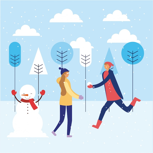 Joyeuses fêtes d'hiver Vecteur Premium