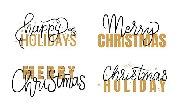 Joyeuses fêtes, joyeux noël manuscrit doodle Vecteur Premium