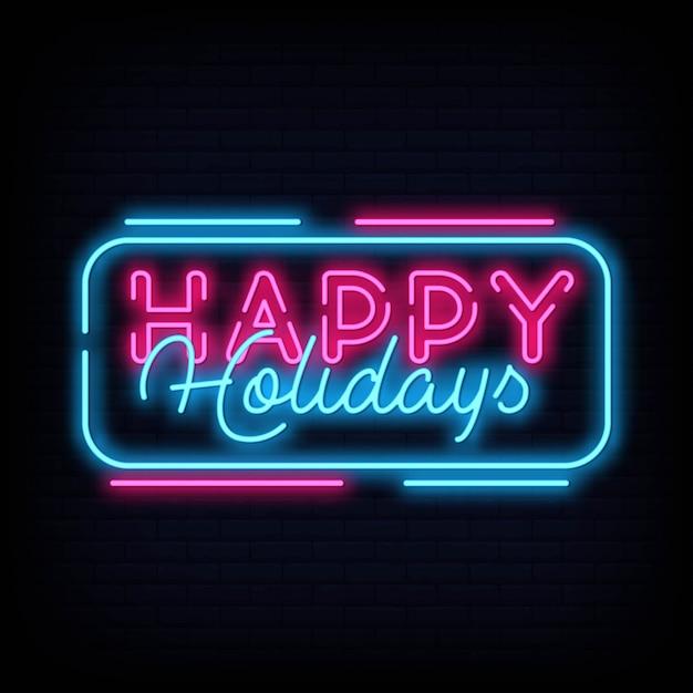 Joyeuses fêtes neon texte vecteur. modèle de conception de joyeuses fêtes enseigne au néon Vecteur Premium