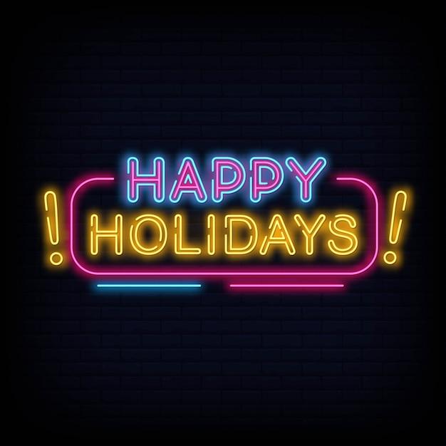 Joyeuses fêtes neon texte vecteur Vecteur Premium