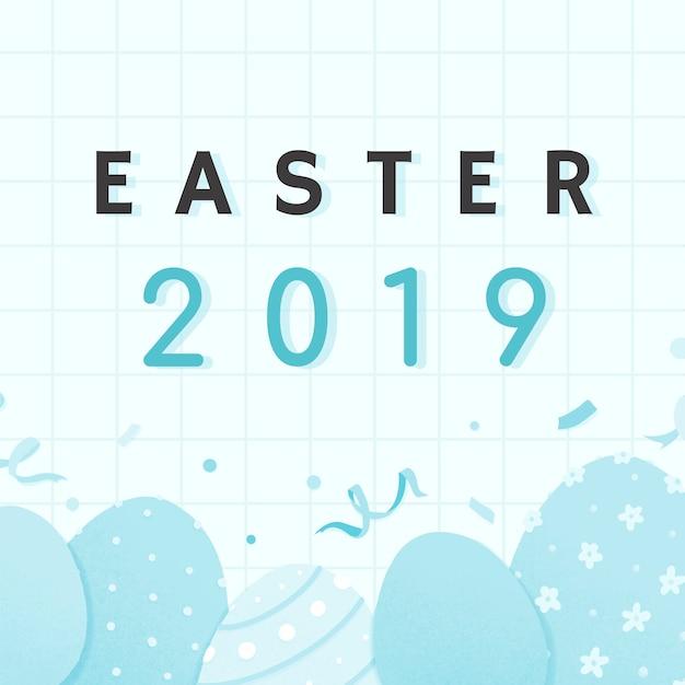 Joyeuses pâques 2019 conception de cartes Vecteur gratuit