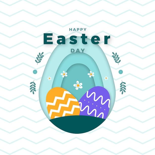 Joyeuses Pâques Au Design Plat Vecteur gratuit
