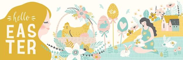 Joyeuses Pâques. Bannière Avec Symboles De Pâques Mignons Et Nature Printanière. Vecteur Premium