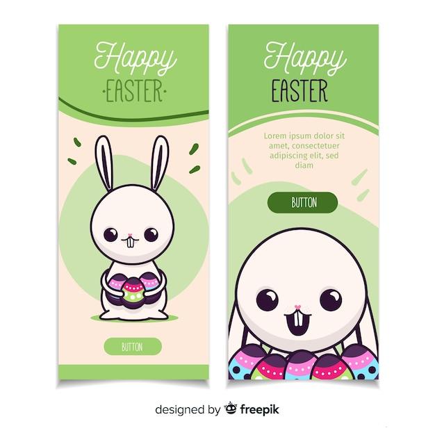 Joyeuses Pâques Bannières Plat Vecteur gratuit
