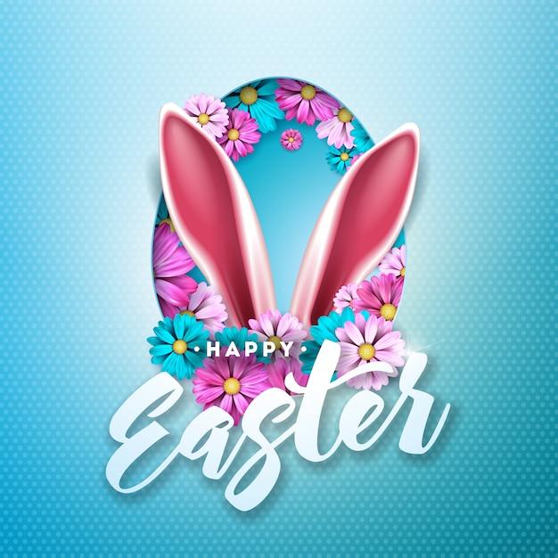 Joyeuses pâques design avec fleur de printemps en silhouette d'oeuf Vecteur Premium