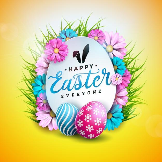 Joyeuses pâques design avec oeuf et fleur de printemps Vecteur Premium