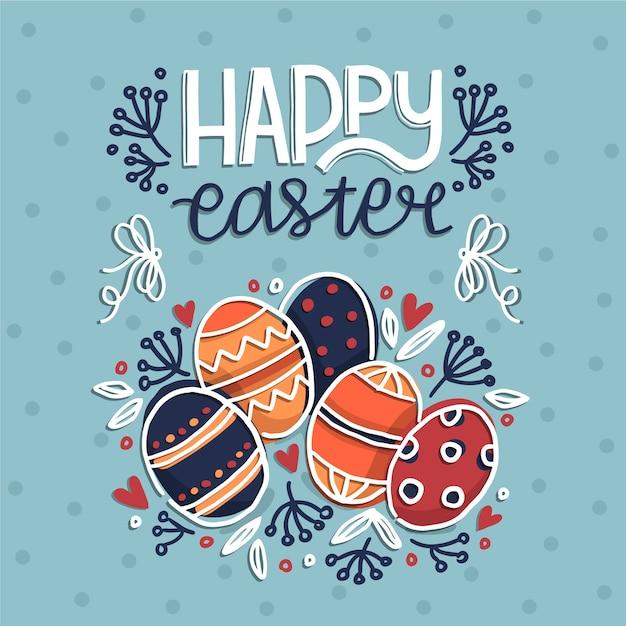 Joyeuses Pâques Dessinés à La Main Vecteur gratuit