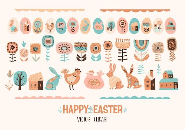 Joyeuses Pâques. Ensemble De Poulet Mignon, Lapins, Fleurs, œufs, Maisons. Vecteur Premium