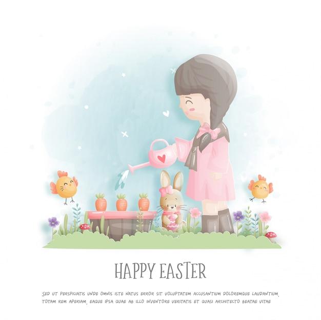 Joyeuses Pâques Avec Une Fille Plantant Des Carottes Et Des Oeufs De Pâques En Illustration De Style Papier Découpé. Vecteur Premium