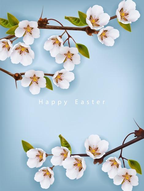 Joyeuses pâques. fond de fleurs de cerisier Vecteur Premium