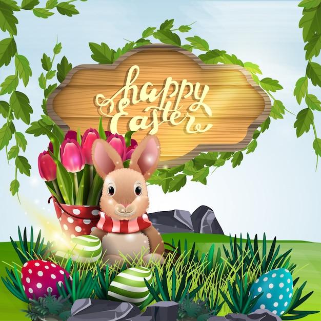 Joyeuses Pâques, Illustration Vectorielle Avec Panneau En Bois, Lapin De Pâques Vecteur Premium