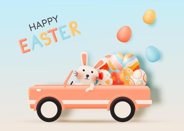 Joyeuses Pâques Avec Lapin Mignon Conduisant Une Voiture Vecteur Premium