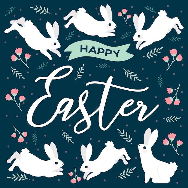 Joyeuses Pâques Avec Des Lapins Et Des Fleurs Vecteur gratuit