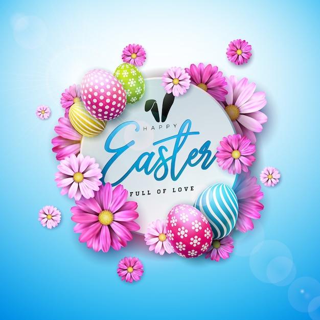 Joyeuses pâques avec œuf peint et fleur de printemps Vecteur Premium