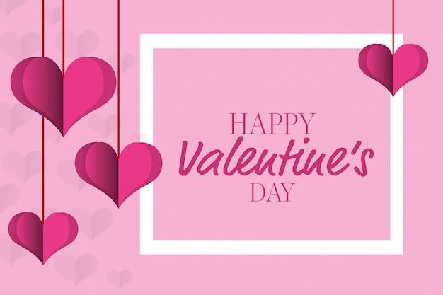 Joyeuses saint valentin voeux Vecteur gratuit