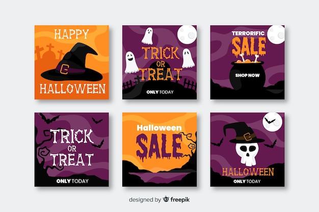 Joyeuses ventes d'halloween pour la collecte de messages sur les médias sociaux Vecteur gratuit
