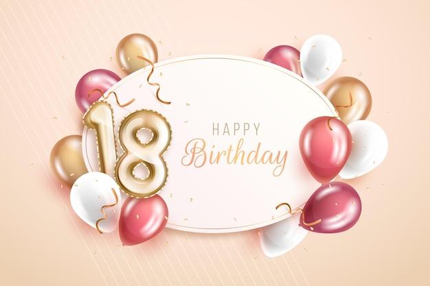 Joyeux 18e Anniversaire Avec Des Ballons Aux Couleurs Pastel Vecteur gratuit