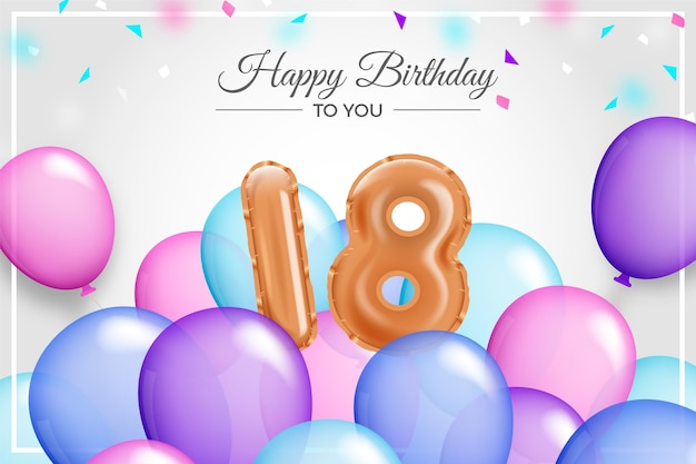 Joyeux 18ème Anniversaire Fond Avec Des Ballons Réalistes Vecteur gratuit