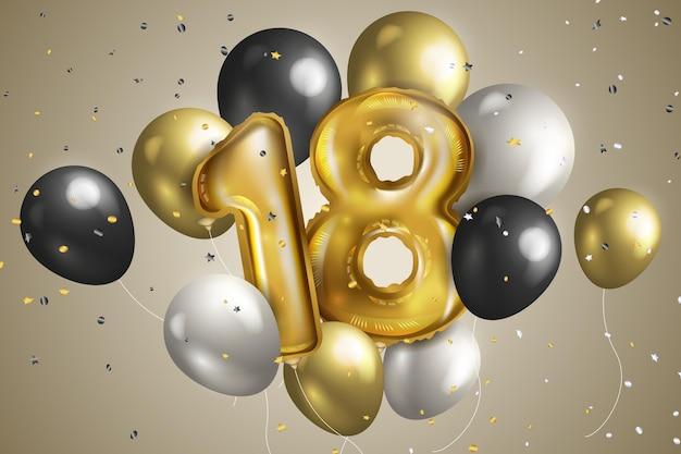 Joyeux 18ème Anniversaire Fond Vecteur Premium