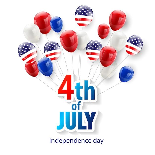 Joyeux 4 juillet fond de vacances Vecteur Premium