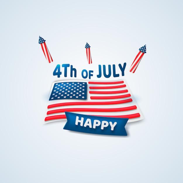 Joyeux 4 Juillet. Le Jour De L'indépendance. Vecteur Premium