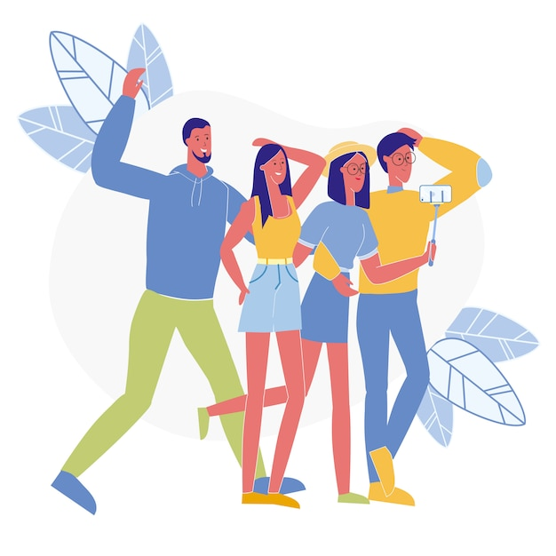 Joyeux amis prennent selfie vector illustration Vecteur Premium
