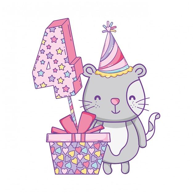 Joyeux anniversaire animal mignon Vecteur Premium