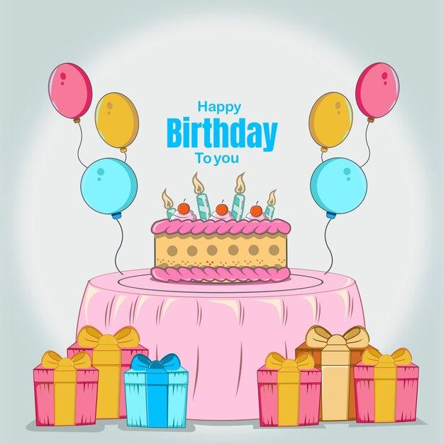 Joyeux Anniversaire Avec, Anniversaire De Gâteau, Bougie, Donner, Ballon Coloré, Design Plat De Célébration Vecteur Premium