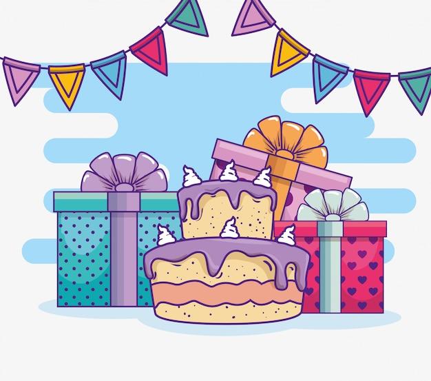 Joyeux anniversaire avec bannière de gâteau et fête Vecteur gratuit